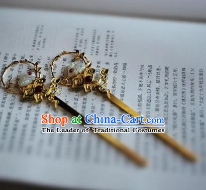 Chinese Handmade Classical Hair Accessories Jade Rabbit Hairpins Hair Stick for Women