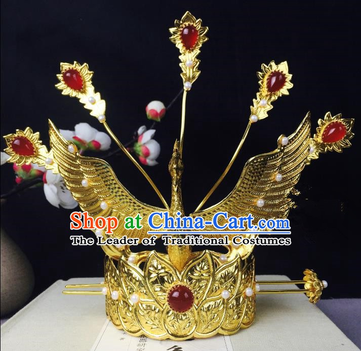 Chinese Handmade Classical Hair Accessories Phoenix Coronet Hairdo Crown Hairpins Hair Stick for Women