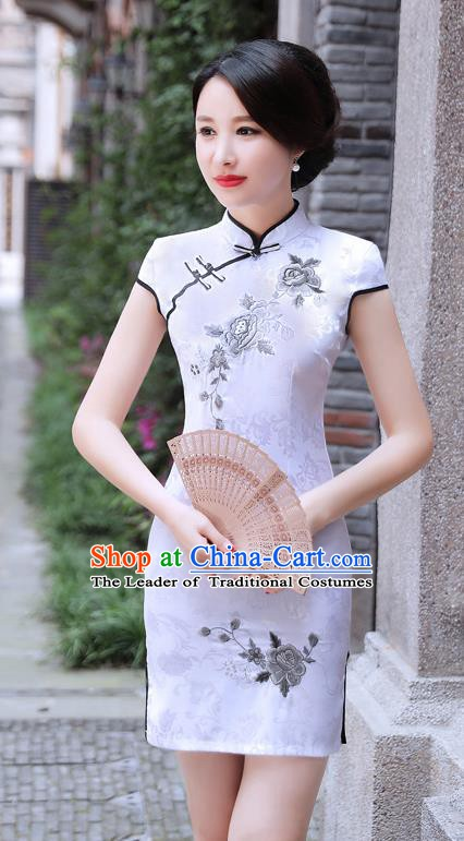 Chinese Traditional Mandarin Qipao Dress National Costume Printing Peony White Cheongsam for Women