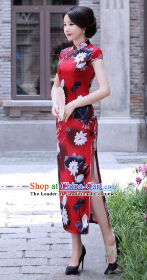 Chinese Traditional Mandarin Silk Qipao Dress National Costume Printing Lotus Red Long Cheongsam for Women
