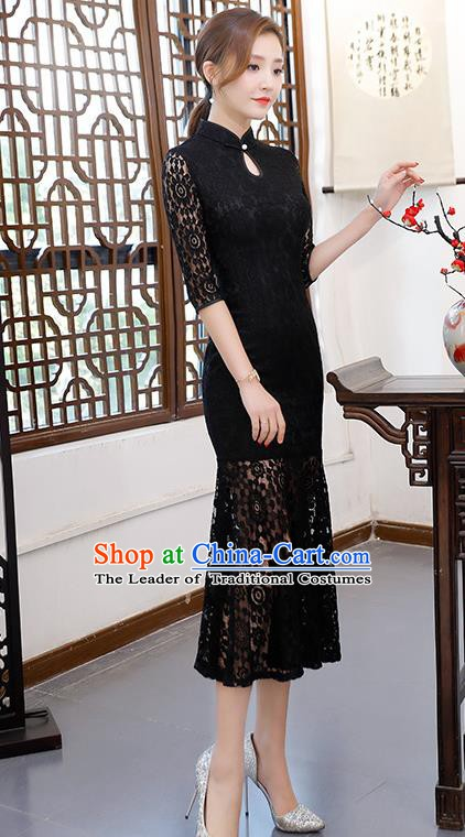Chinese Traditional Black Lace Mandarin Qipao Dress National Costume Fishtail Cheongsam for Women