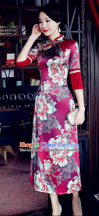 Chinese Traditional Mandarin Qipao Dress National Costume Printing Peony Wine Red Cheongsam for Women