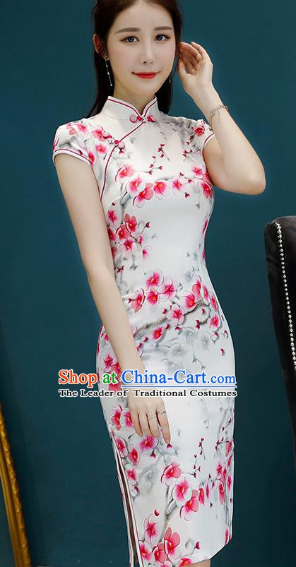 Chinese Traditional Mandarin Qipao Dress National Costume Printing Flowers White Cheongsam for Women
