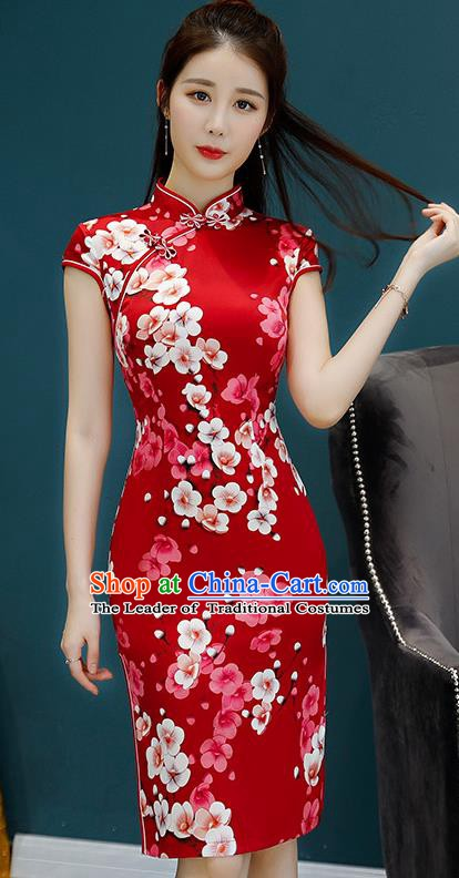 Chinese Traditional Mandarin Qipao Dress National Costume Printing Flowers Red Cheongsam for Women