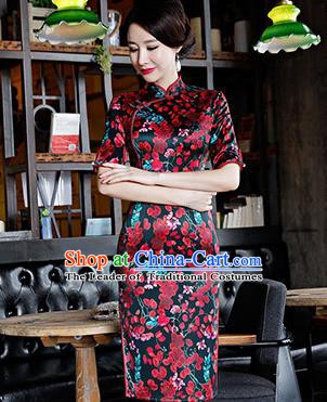 Chinese Traditional Silk Mandarin Qipao Dress National Costume Printing Plum Blossom Short Cheongsam for Women