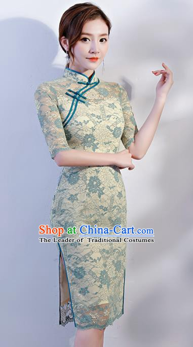 Chinese Traditional Mandarin Qipao Dress National Costume Green Lace Short Cheongsam for Women