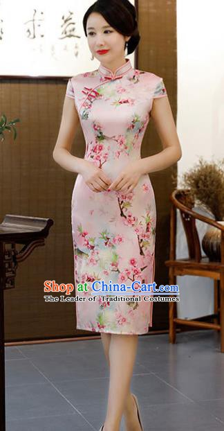 Chinese Traditional Pink Silk Mandarin Qipao Dress National Costume Printing Flowers Short Cheongsam for Women