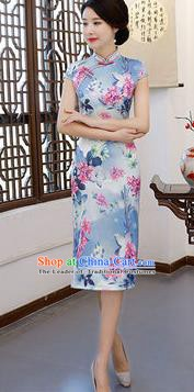 Chinese Traditional Blue Silk Mandarin Qipao Dress National Costume Printing Flowers Short Cheongsam for Women