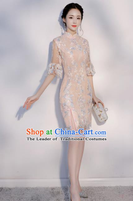 Chinese Traditional Mandarin Qipao Dress National Costume Pink Short Cheongsam for Women
