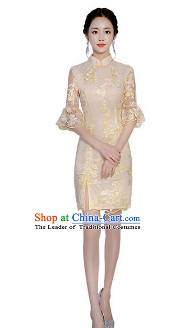 Chinese Traditional Mandarin Qipao Dress National Costume Champagne Short Cheongsam for Women