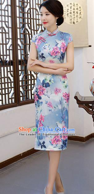 Chinese Traditional Blue Short Mandarin Qipao Dress National Costume Printing Flowers Cheongsam for Women
