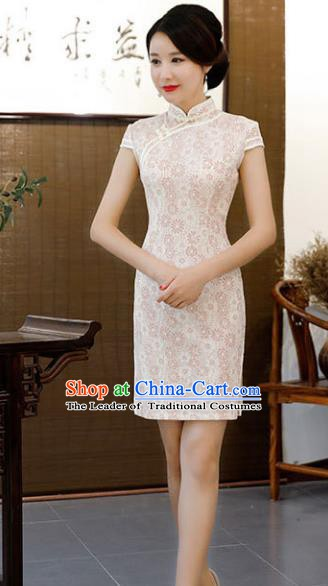 Chinese Traditional Beige Lace Mandarin Qipao Dress National Costume Short Cheongsam for Women