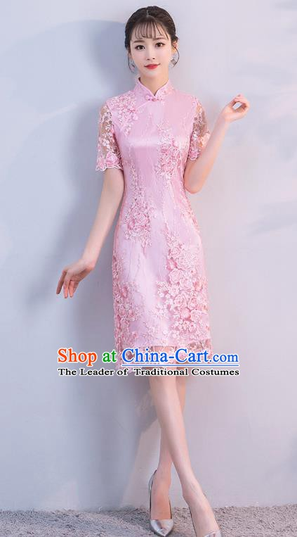 Chinese Traditional Pink Embroidered Mandarin Qipao Dress National Costume Short Cheongsam for Women