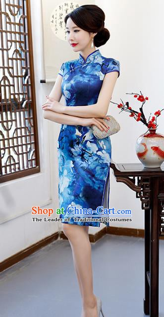Chinese Traditional Mandarin Qipao Dress National Costume Printing Blue Short Cheongsam for Women