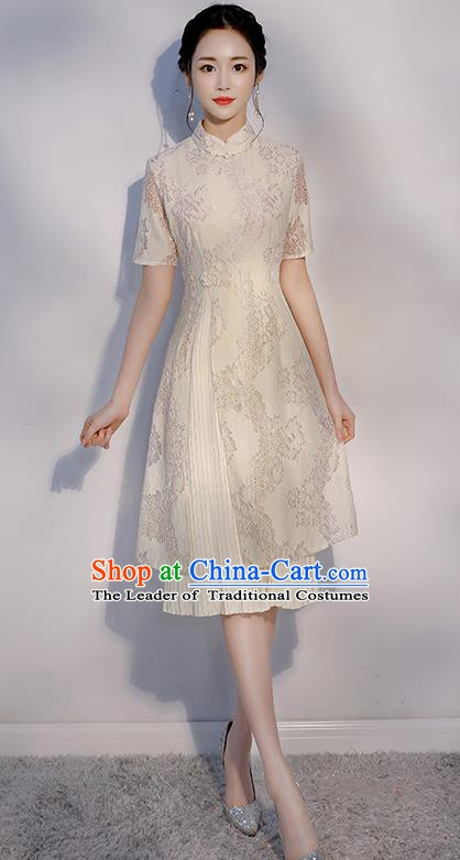 Chinese Traditional Embroidered White Mandarin Qipao Dress National Costume Short Cheongsam for Women