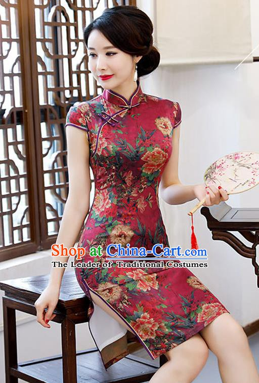 Chinese Traditional Mandarin Qipao Dress National Costume Printing Peony Purplish Red Cheongsam for Women