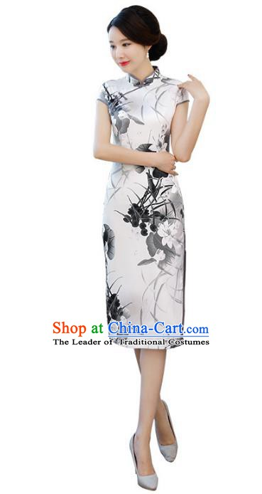 Chinese Traditional Mandarin Qipao Dress National Costume Ink Painting Lotus Silk Cheongsam for Women