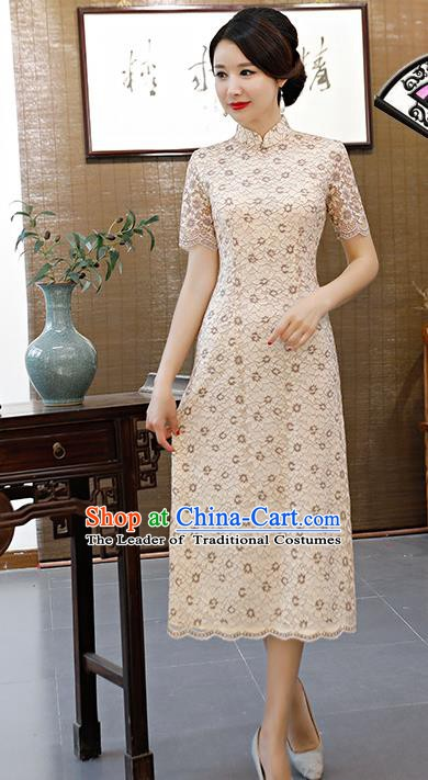 Chinese Traditional Mandarin Qipao Dress National Costume Beige Lace Cheongsam for Women