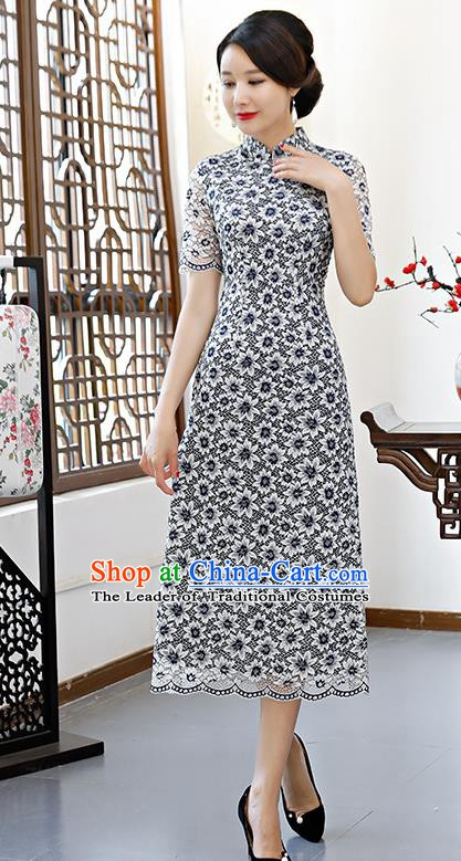 Chinese Traditional Mandarin Qipao Dress National Costume Navy Lace Cheongsam for Women