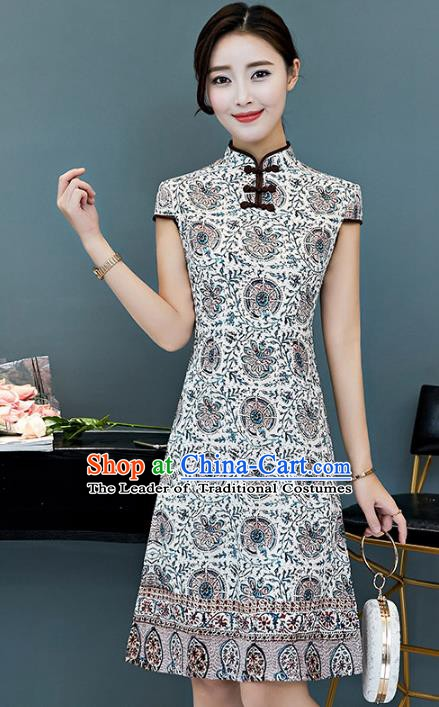 Chinese Traditional Printing Mandarin Qipao Dress National Costume Tang Suit Cheongsam for Women