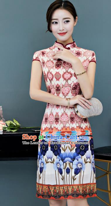 Chinese Traditional Mandarin Qipao Dress National Costume Tang Suit Printing Cheongsam for Women