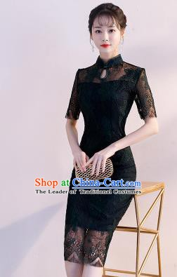 Chinese Traditional Black Lace Mandarin Qipao Dress National Costume Wedding Short Cheongsam for Women