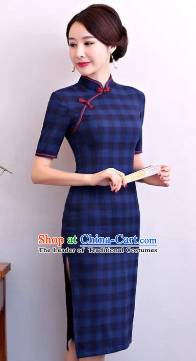Chinese Traditional Tang Suit Navy Linen Qipao Dress National Costume Mandarin Cheongsam for Women