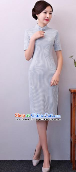 Chinese Traditional Tang Suit Blue Linen Qipao Dress National Costume Mandarin Cheongsam for Women
