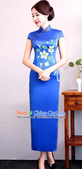 Chinese Traditional Tang Suit Blue Silk Qipao Dress National Costume Mandarin Cheongsam for Women