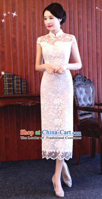 Chinese Traditional Tang Suit White Lace Qipao Dress National Costume Mandarin Cheongsam for Women