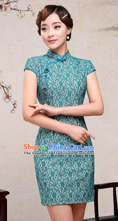 Chinese Traditional Tang Suit Green Short Qipao Dress National Costume Mandarin Cheongsam for Women