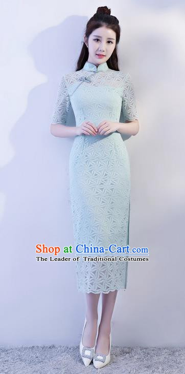 Chinese Traditional Tang Suit Green Lace Long Qipao Dress National Costume Mandarin Cheongsam for Women