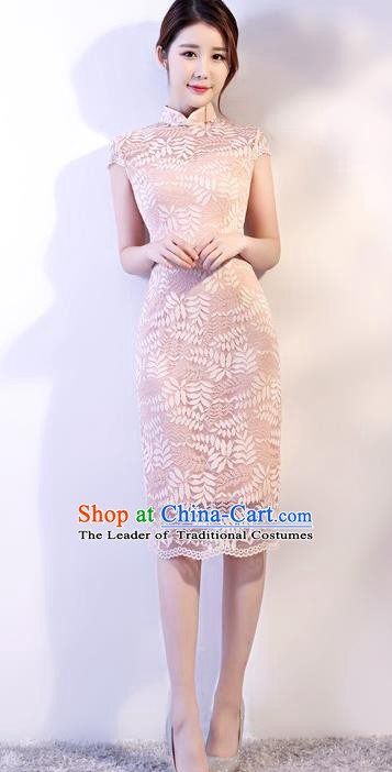 Chinese Traditional Tang Suit Pink Embroidered Lace Qipao Dress National Costume Mandarin Cheongsam for Women