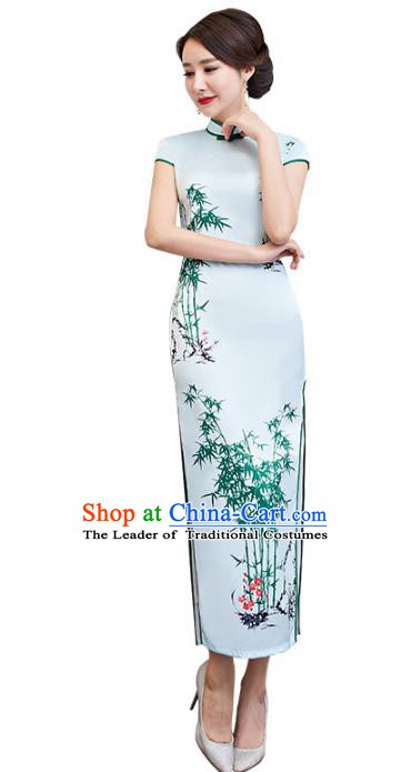 Chinese Traditional Tang Suit Printing Bamboo Qipao Dress National Costume Green Silk Mandarin Cheongsam for Women