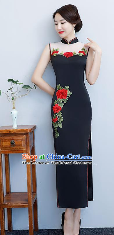 Chinese Traditional Tang Suit Embroidered Peony Qipao Dress National Costume Black Silk Mandarin Cheongsam for Women