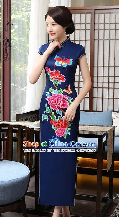 Chinese Traditional Tang Suit Printing Peony Butterfly Qipao Dress National Costume Blue Silk Mandarin Cheongsam for Women