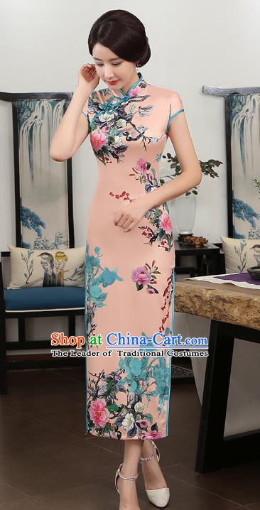 Chinese Traditional Tang Suit Printing Qipao Dress National Costume Pink Silk Mandarin Cheongsam for Women