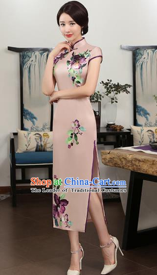 Chinese Traditional Tang Suit Printing Flowers Qipao Dress National Costume Lilac Silk Mandarin Cheongsam for Women