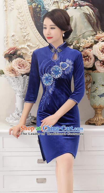 Chinese Traditional Tang Suit Blue Velvet Qipao Dress National Costume Retro Mandarin Cheongsam for Women