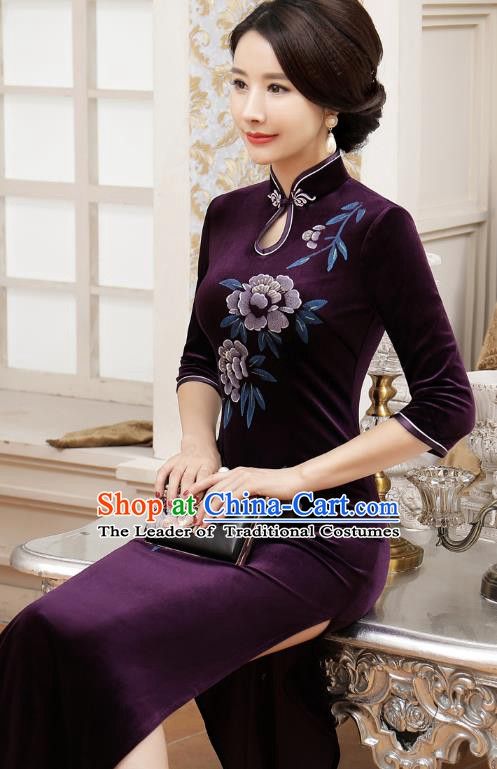 Chinese Traditional Tang Suit Purple Velvet Qipao Dress National Costume Retro Long Mandarin Cheongsam for Women