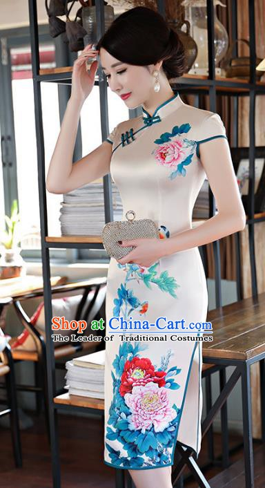 Chinese Traditional Printing Peony Mandarin Qipao Dress National Costume Tang Suit Silk Cheongsam for Women