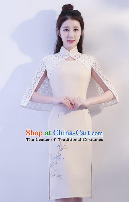 Chinese Traditional Beige Mandarin Qipao Dress National Costume Tang Suit Cheongsam for Women