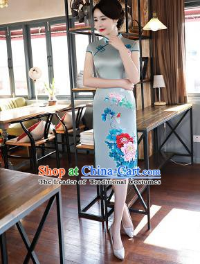 Chinese Traditional Printing Peony Mandarin Qipao Dress National Costume Tang Suit Blue Silk Cheongsam for Women