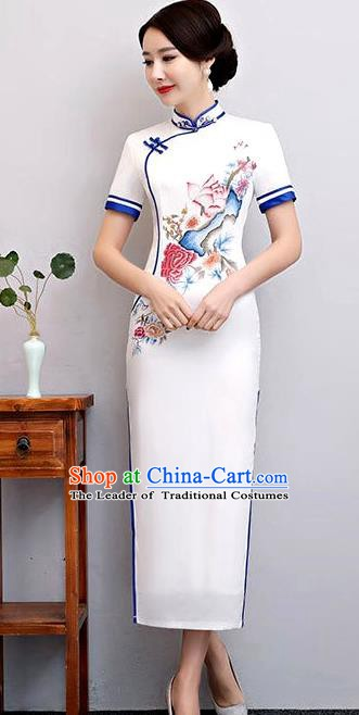 Chinese Traditional Printing Lotus Mandarin Qipao Dress National Costume Tang Suit Cheongsam for Women