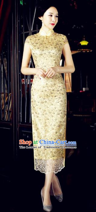 Chinese Traditional Mandarin Qipao Dress National Costume Tang Suit Yellow Cheongsam for Women