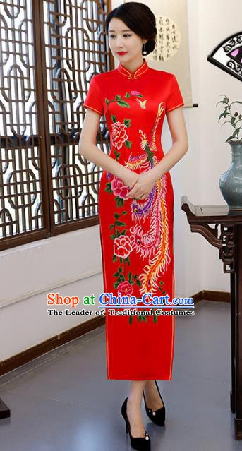 Chinese Traditional Printing Phoenix Peony Mandarin Qipao Dress National Costume Tang Suit Red Cheongsam for Women