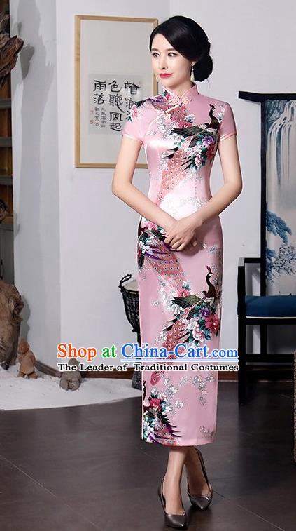 Chinese Traditional Printing Peacock Mandarin Qipao Dress National Costume Tang Suit Pink Cheongsam for Women