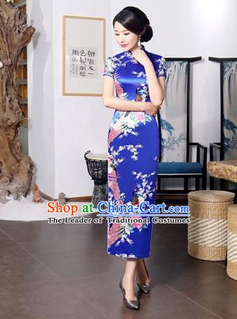 Chinese Traditional Printing Peacock Mandarin Qipao Dress National Costume Tang Suit Blue Cheongsam for Women