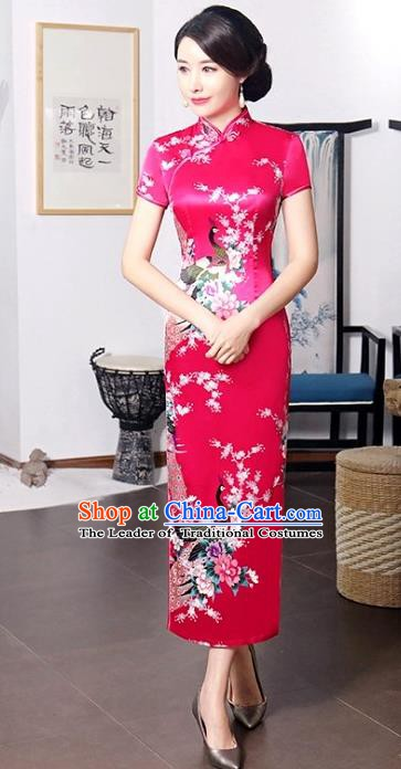 Chinese Traditional Printing Peacock Mandarin Qipao Dress National Costume Tang Suit Rosy Cheongsam for Women
