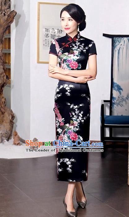 Chinese Traditional Printing Peacock Mandarin Qipao Dress National Costume Tang Suit Black Cheongsam for Women